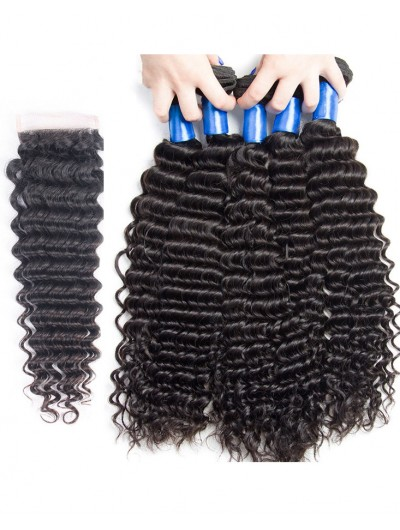 7A 4 Bundles with Closure Deal Malaysian Hair Curly