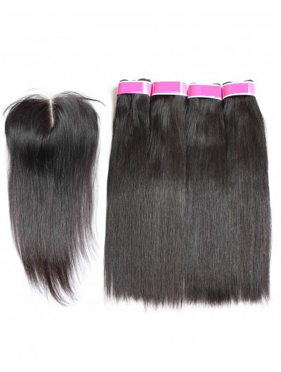 7A 4 Bundles with Closure Deal Indian Hair Straight