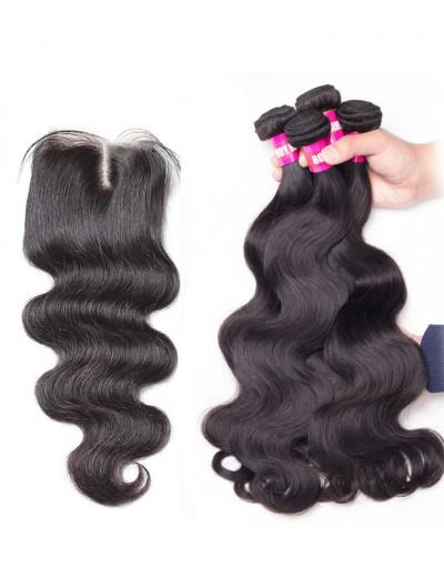 8A Premium 4 Bundles with Closure Deal Brazilian Hair Body Wave