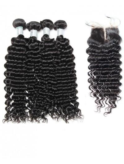 8A Premium 4 Bundles with Closure Deal Indian Hair Deep Wave