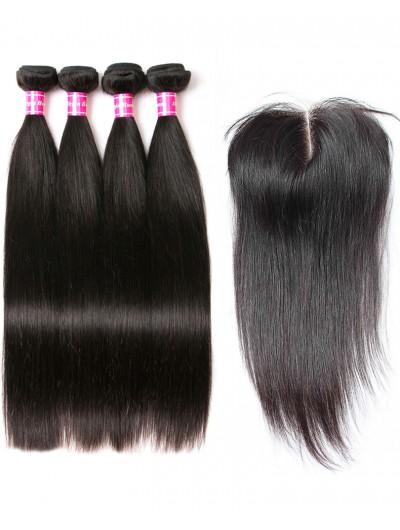 8A Premium 4 Bundles with Closure Deal Peruvian Hair Straight