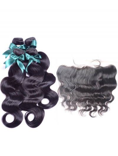 6A 3 Bundles with Frontal Deal Malaysian Hair Body Wave