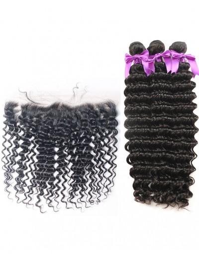 6A 3 Bundles with Frontal Deal Brazilian Hair Deep Wave