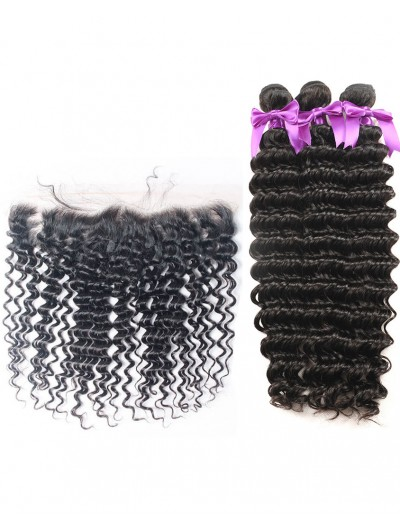 6A 3 Bundles with Frontal Deal Indian Hair Deep Wave