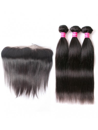 6A 3 Bundles with Frontal Deal Indian Hair Straight