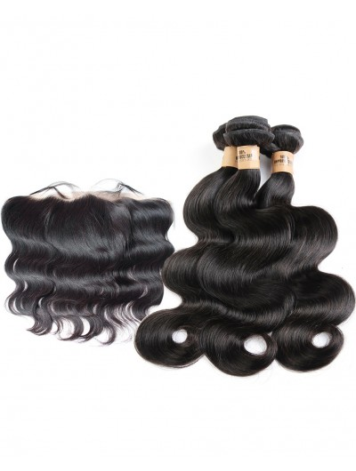 7A 3 Bundles with Frontal Deal Indian Hair Body Wave