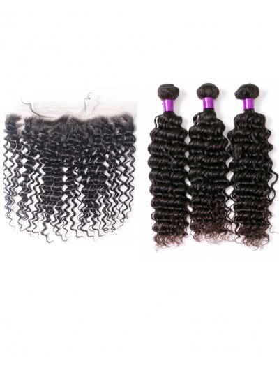 7A 3 Bundles with Frontal Deal Brazilian Hair Curly