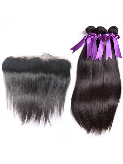 7A 3 Bundles with Frontal Deal Indian Hair Straight