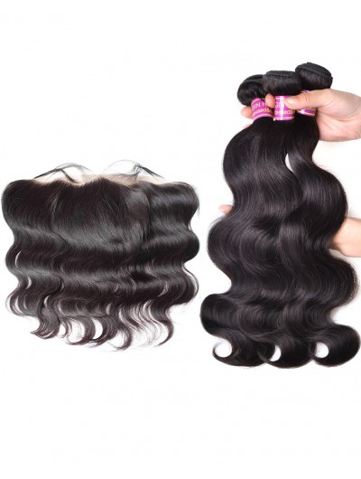 8A Premium 3 Bundles with Frontal Deal Indian Hair Body Wave