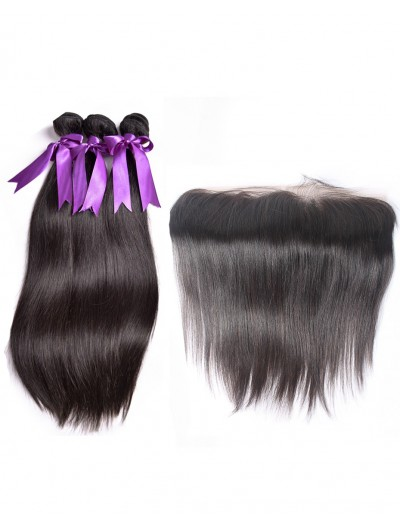 8A Premium 3 Bundles with Frontal Deal Malaysian Hair Straight