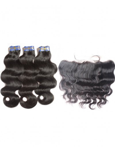 6A 4 Bundles with Frontal Deal Indian Hair Body Wave