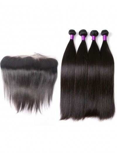 6A 4 Bundles with Frontal Deal Indian Hair Straight