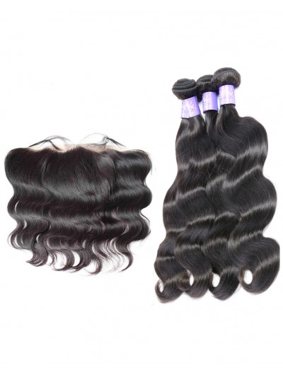 7A 4 Bundles with Frontal Deal Indian Hair Body Wave