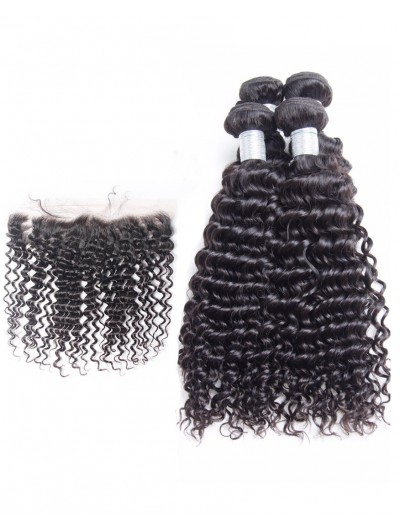 7A 4 Bundles with Frontal Deal Indian Hair Curly