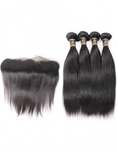 7A 4 Bundles with Frontal Deal Indian Hair Straight