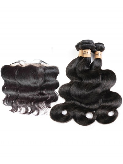 8A Premium 4 Bundles with Frontal Deal Indian Hair Body Wave