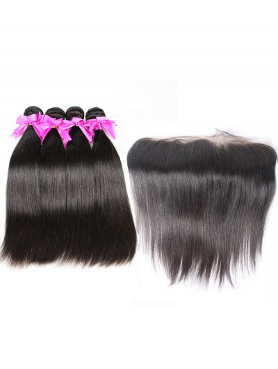 8A Premium 4 Bundles with Frontal Deal Brazilian Hair Straight