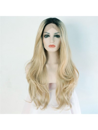 Handmade Golden Blonde Synthetic Lace Front Wig