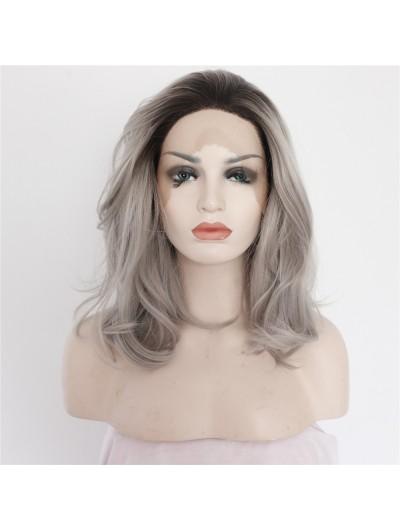 Fashion Half Handmade Bob Synthetic Grey Lace Front Wig