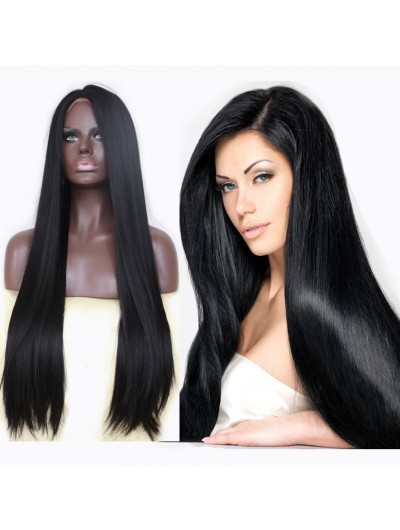 Handmade Straight Black Long Synthetic Lace Front Wig Middle Parting