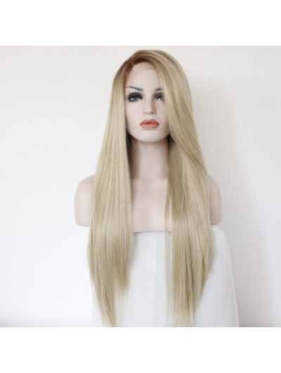 Long Natural Brown Blonde Synthetic Lace Front Wig for Women