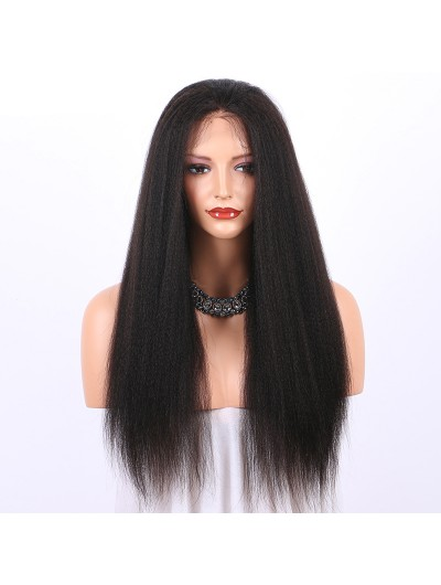 Yaki Lace Front Human Hair Wigs For Black Women Brazilian Wigs With Baby Hair