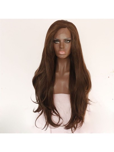 Brown Natural Long Wave Lace Front Wig