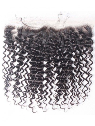 7A 4 x 13 Lace Frontal Peruvian Hair Deep Wave