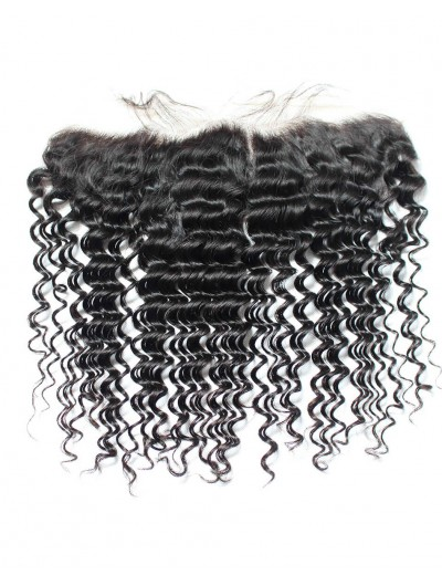 8A Premium 4 x 13 Lace Frontal Indian Hair Deep Wave