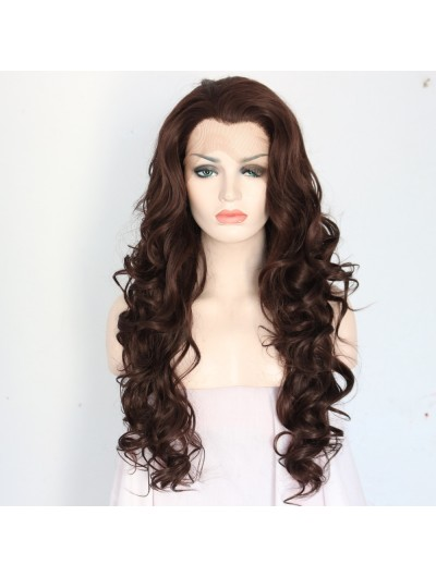 Long Dark Brown Natural Wavy Wigs Lace Front