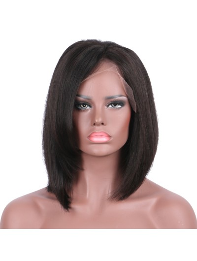 Straight Lace Front Wigs Indian Hair Short Bob With bangs