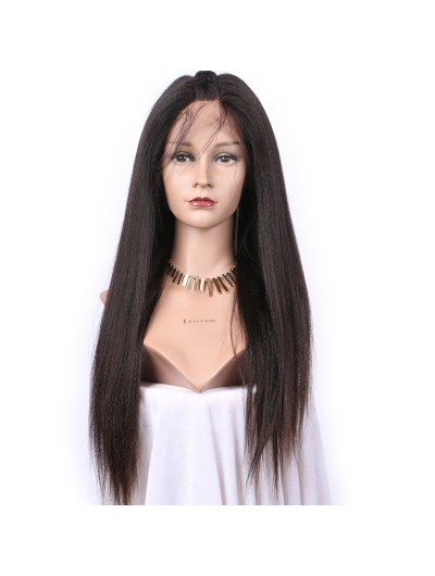 Yaki Straight Remy Human Hair Lace Wigs For Black Women