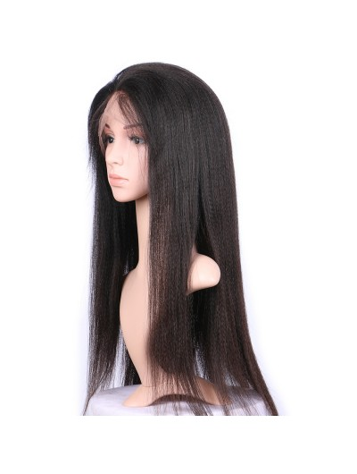 Yaki Straight Lace Front Human Hair Wigs with Baby Hair For Women