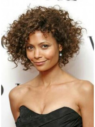 Capless Short Synthetic Hair Curly Brown Wig Without Bangs