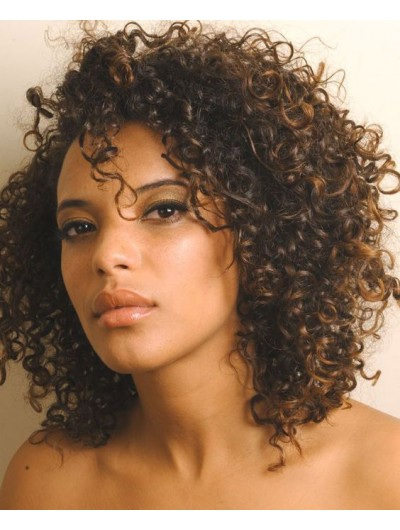 Capless Medium Synthetic Hair Curly Brown Wig Without Bangs