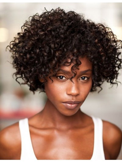 Capless Short Synthetic Hair Curly Black Wig With Bangs Afro Wigs