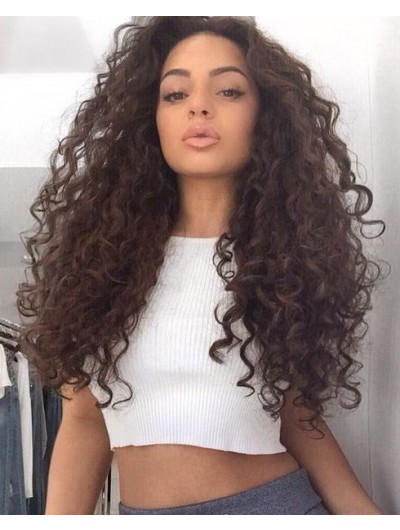Full Lace Long Synthetic Hair Curly Brown Wig Without Bangs