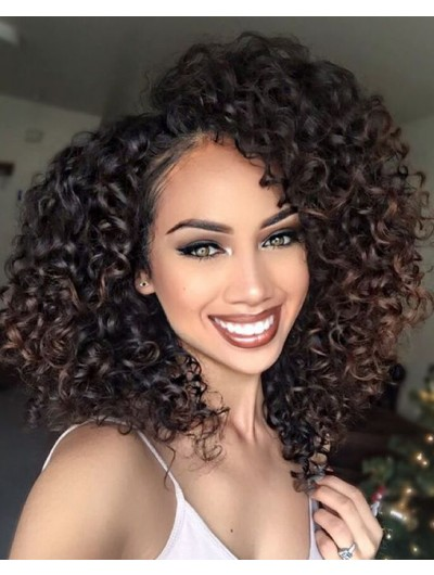 Full Lace Medium Synthetic Hair Curly Brown Wig Without Bangs