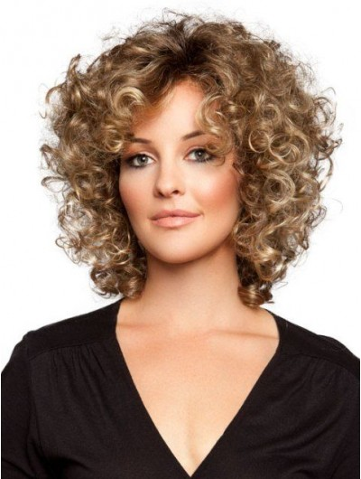 Capless Medium Synthetic Hair Curly Wig Without Bangs