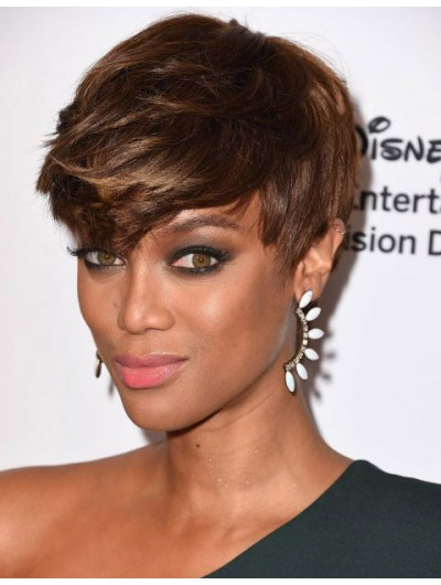 Capless Short Synthetic Hair Straight Brown Wig With Bangs