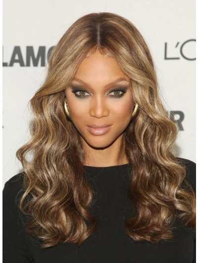 Lace Front Long Synthetic Hair Wavy Wig Without Bangs