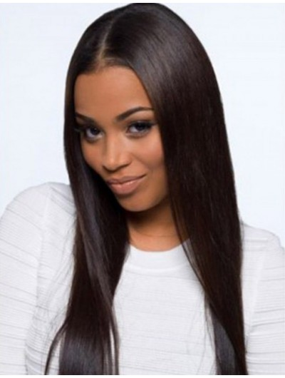 Lace Front Long Remy Human Hair Straight Wig Without Bangs