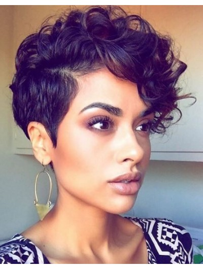 Lace Front Short Synthetic Hair Wavy Wig Without Bangs