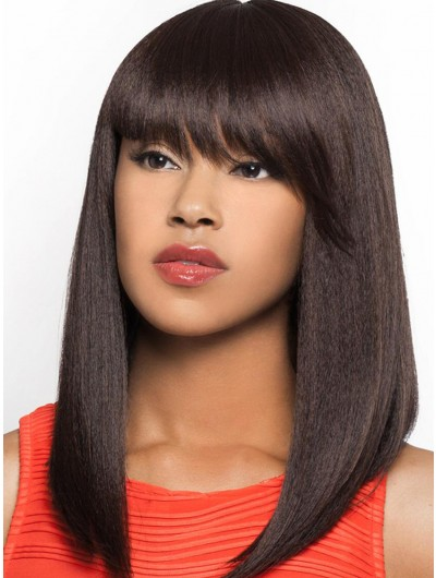 Capless Long Synthetic Hair Straight Wig With Bangs