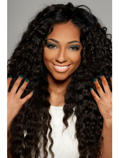Capless Long Synthetic Hair Curly Wig Without Bangs