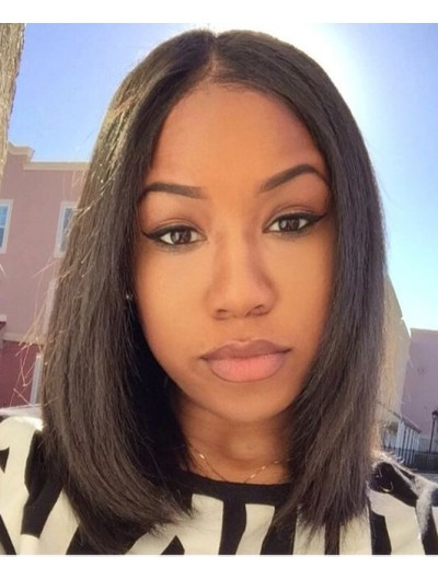 Lace Front Medium Remy Human Hair Straight Wig Without Bangs