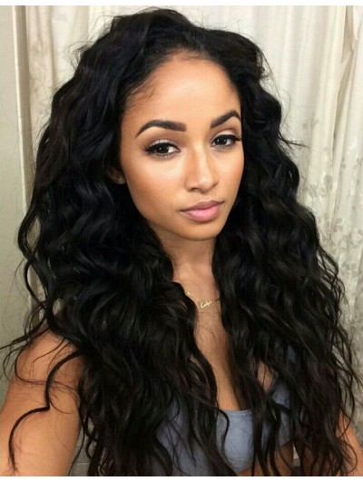 Full Lace Long Synthetic Hair Wavy Wig Without Bangs