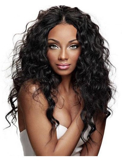 Lace Front Long Synthetic Hair Wavy Black Wig Without Bangs