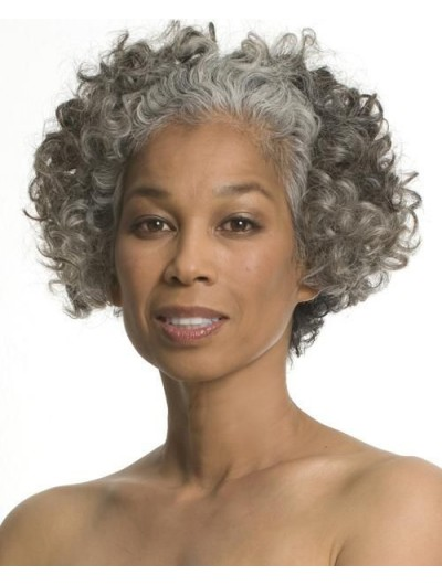 Full Lace Short Synthetic Hair Curly Grey Wig Without Bangs
