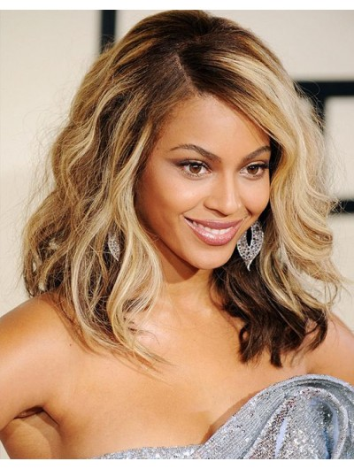 Lace Front Long Synthetic Hair Wavy Blonde Wig Without Bangs